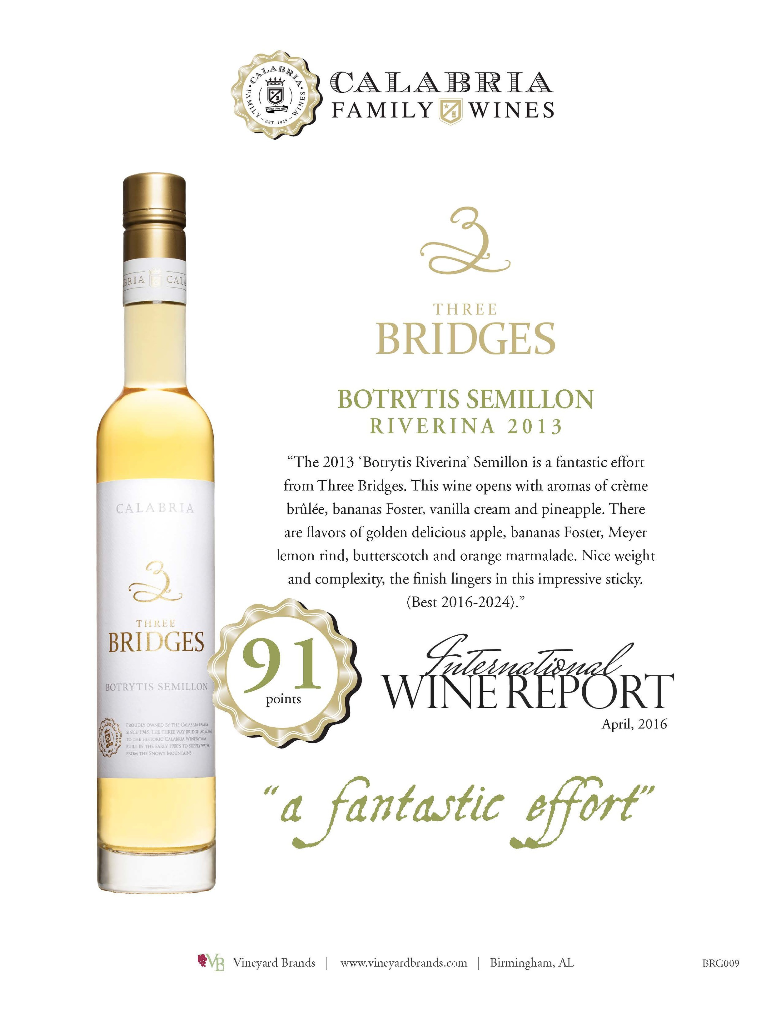 Three Bridges Botrytis Semillon Riverina 2013