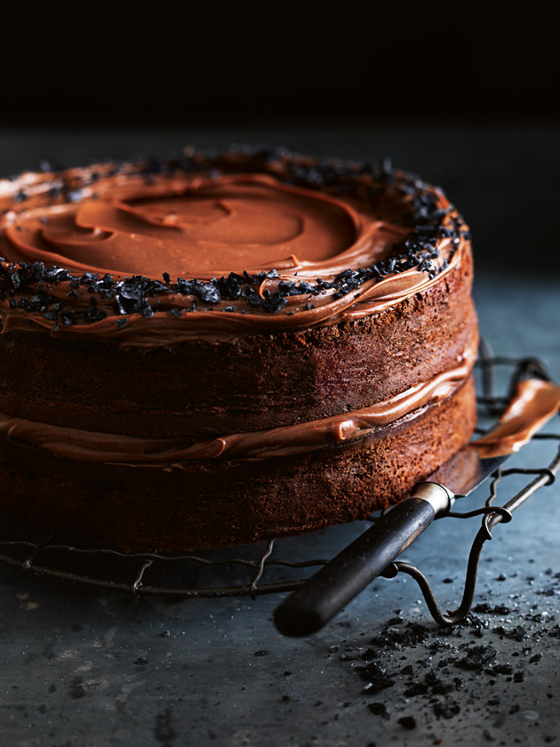 Salted Dark Chocolate Layer Cake with Chocolate Ganache