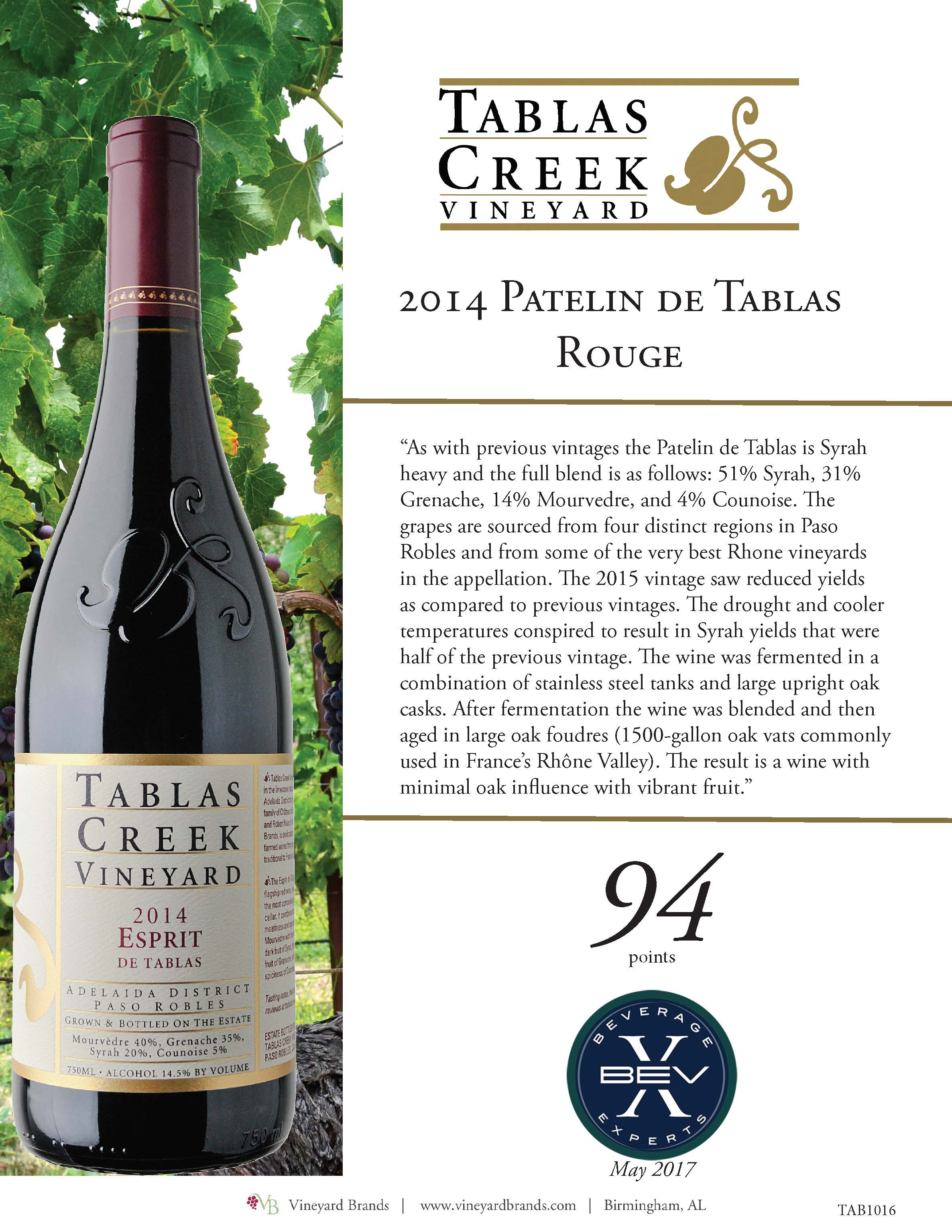 Tablas Creek 2014 Patelin de Tablas Rouge.jpg
