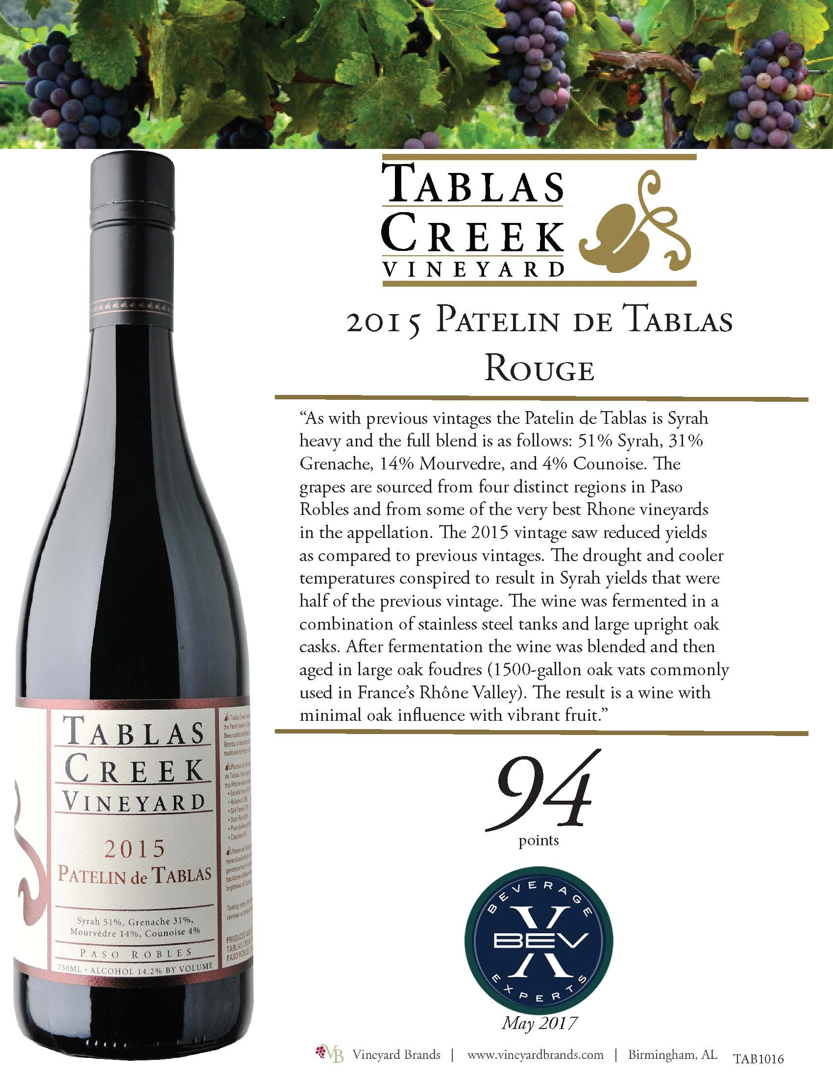 Tablas Creek Patelin de Tablas Rouge 2015.jpg