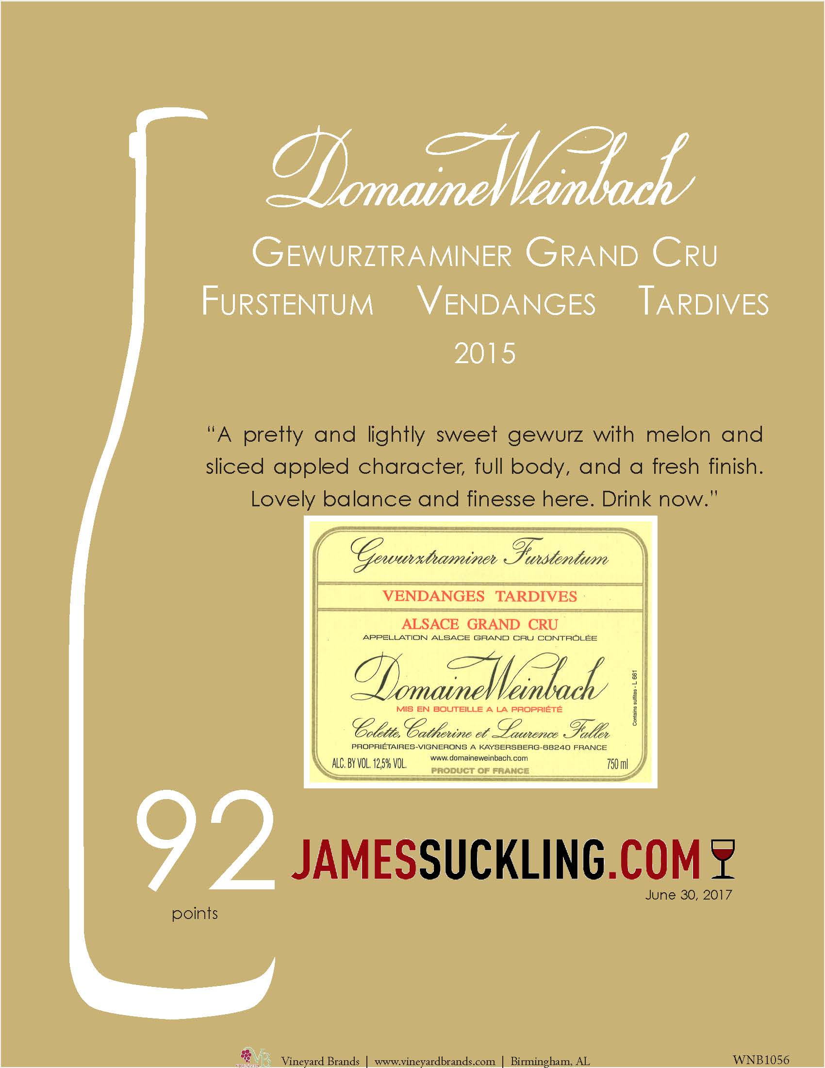Weinbach Gewurztraminer Grand Cru Furstentum Vendanges Tardives 2015.jpg