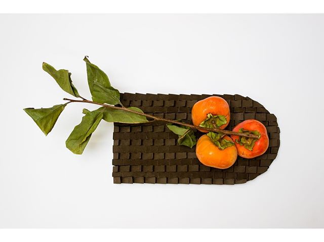 Tray with persimmons