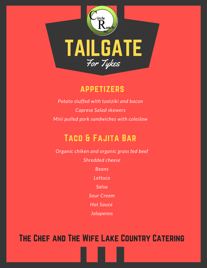 Tailgate for Tykes Menu | Circle Ranch