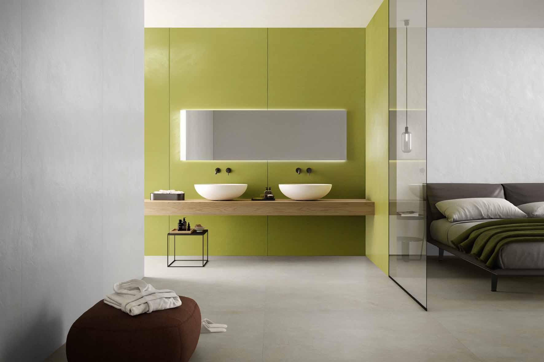 Impression: Creos Cookie 120x120 cm; Creos Bride 120x278 cm; Creos Lime 120x278 cm © Ceramiche Refin