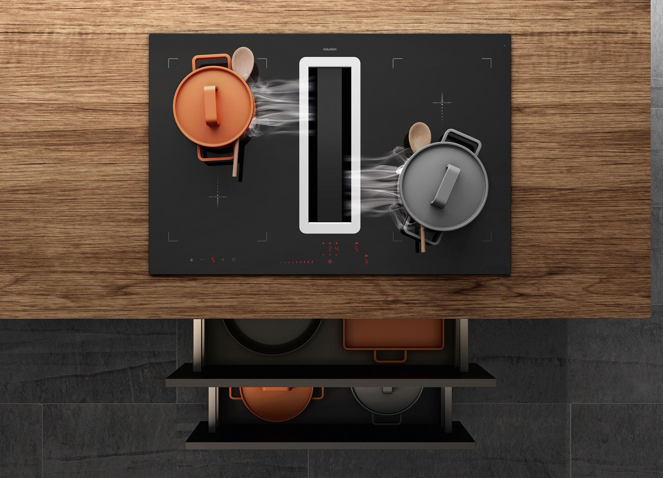 Kompaktes Duo zum Kochen & Lüften: Ein prämiertes Premium-Induktionskochfeld – alternativ ist auch ein HiLight-Kochfeld möglich – und ein integrierter Kochfeldabzug mit einem leistungsstarken Motor. Die Einstellungen erfolgen über Slider Sensortasten.
