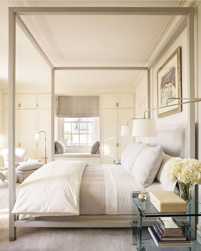 I'm a sucker for a four poster bed.  Love the clean lines and soothing colors in this bedroom.⠀ 📷 via: @amberbdesign, design: @markcunninghaminc
