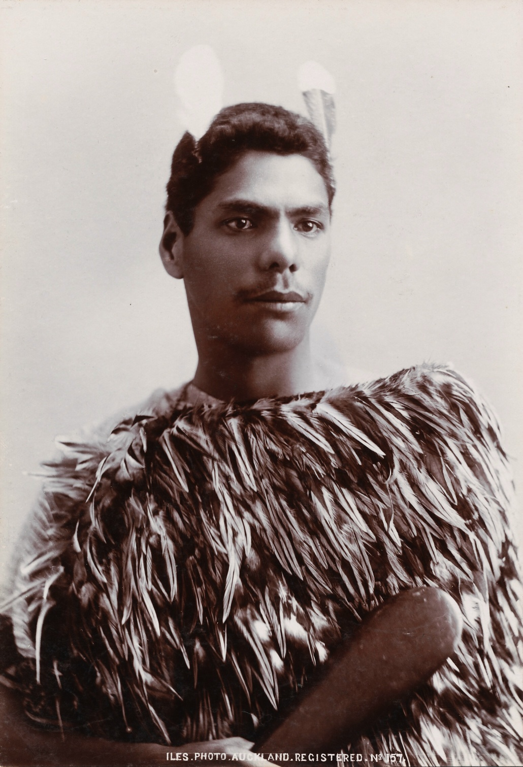 Maori with Patu. New Zealand C1895. Photographer Iles. Silver Gelatin Silver Print, Size 19.5 X 13.5 cm ( 7.75 X 5.25 in )