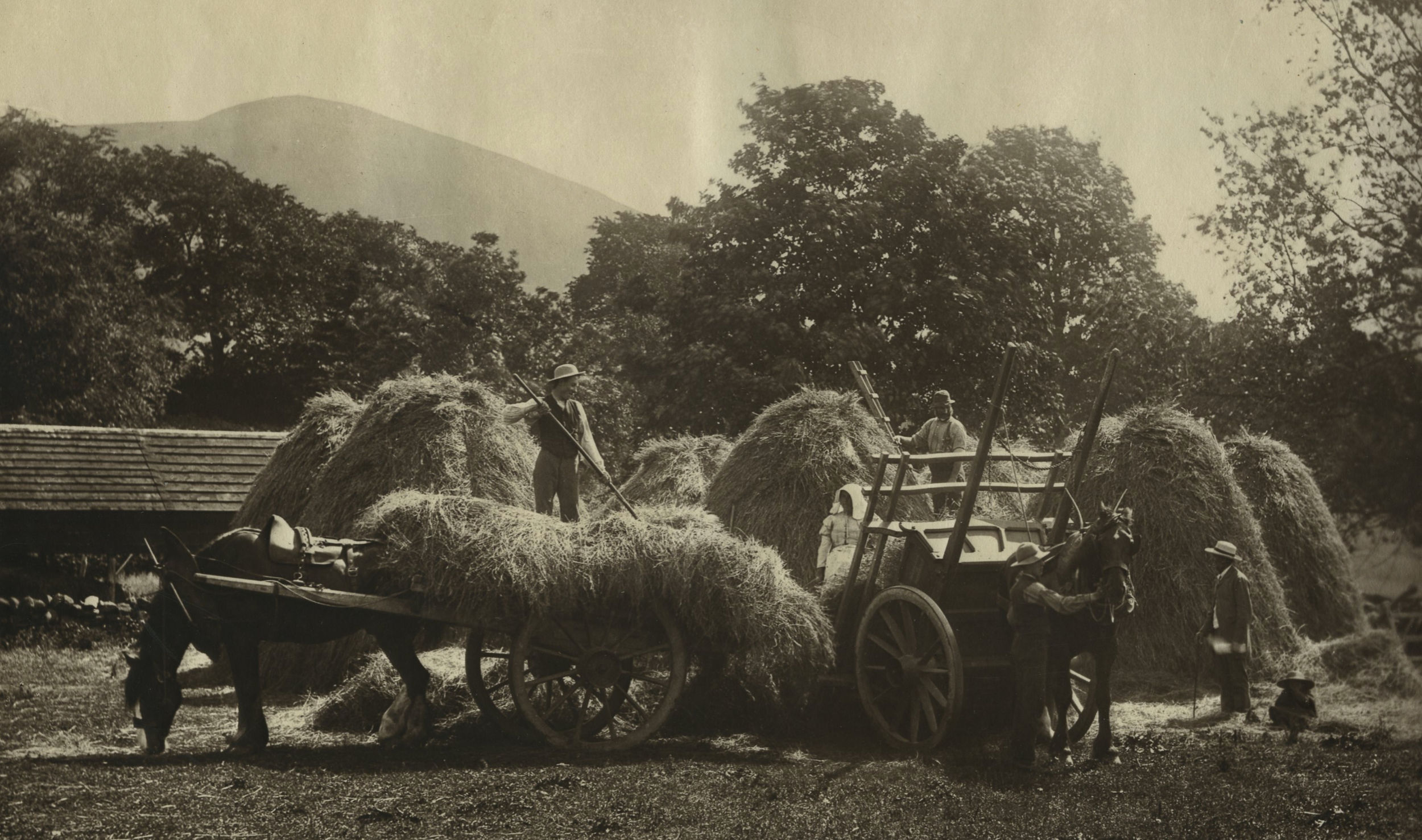 Scottish Harvest By Charles Reid c1900 - Carbon Print 280x238mm