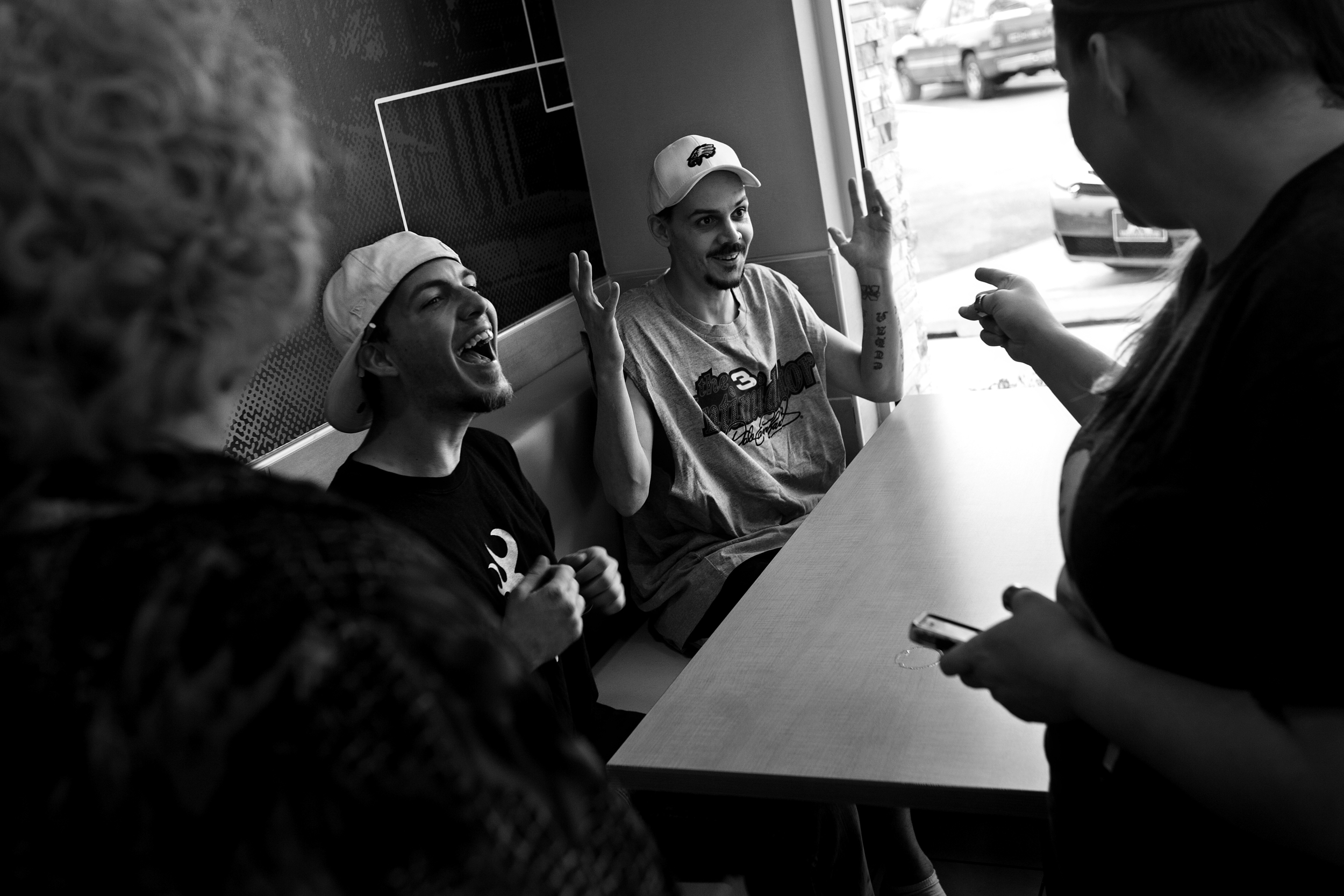 """After his release from jail, Paul's mood is light as he eats at a McDonald's with his mother, his wife and his nephew Brandon Ellett. Lynda is encouraged at moments like this when a happier spirit breaks through the darkness of his mental illness. """"He's a great guy,"""" she said. """"I want you to understand. He's got a heart of gold."""""""