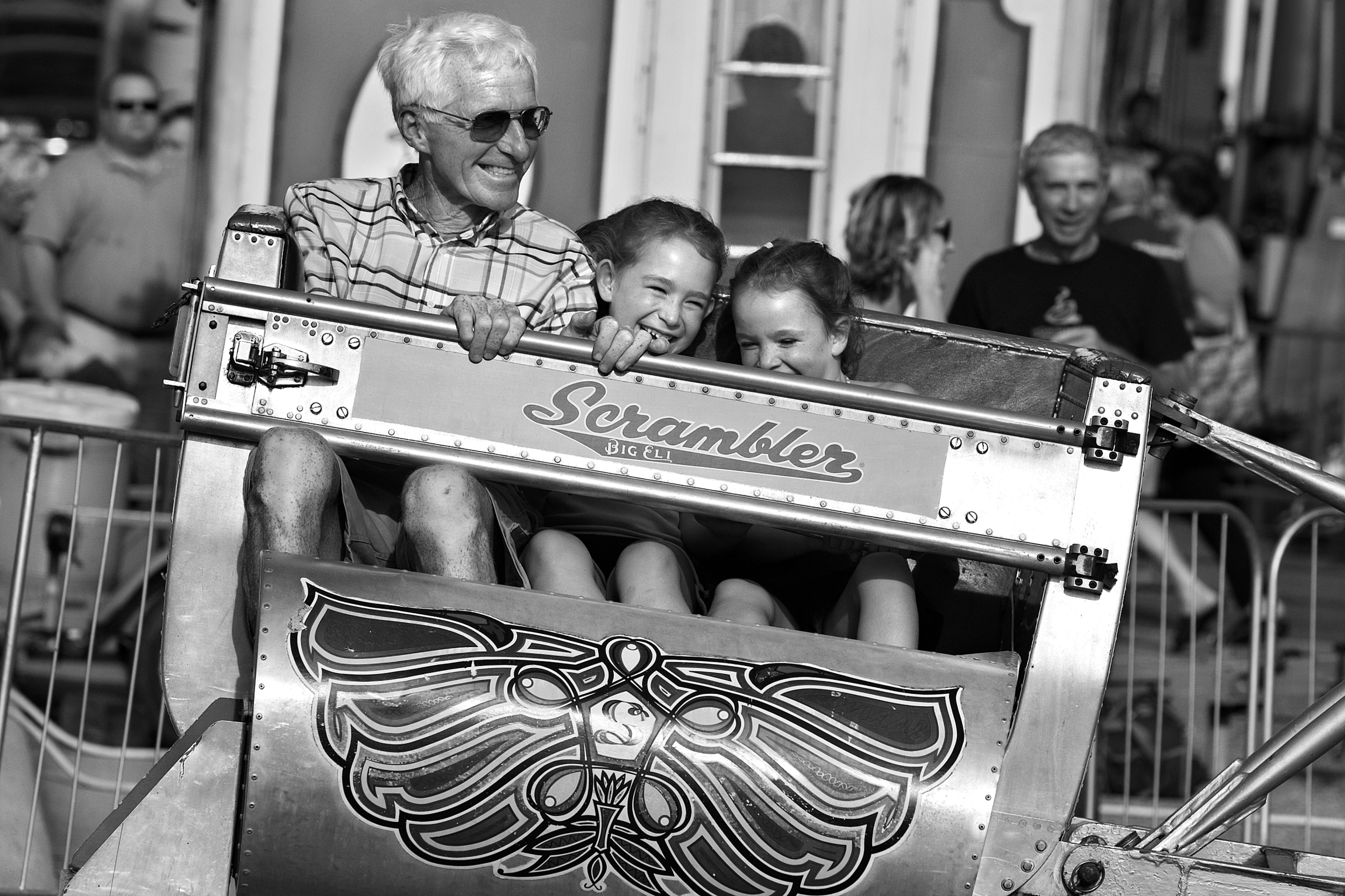 The Scrambler carnival ride has been one of the highlights of the Jasper Strassenfest for many years for Red. Joining him on the ride during last year's Strassenfest were two of his granddaughters, Merin Buck, 5, right, and her sister Maci, 8, of Jasper.