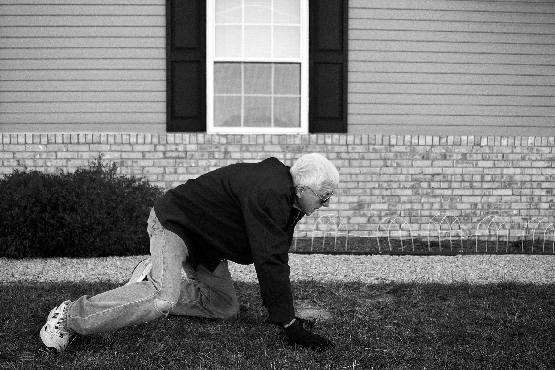 Red learned how to fall in a way that would lessen the blow and chances of injury if he fell when struggling with his walking. He tried to get back to his feet after falling in his front yard while putting up Christmas decorations.