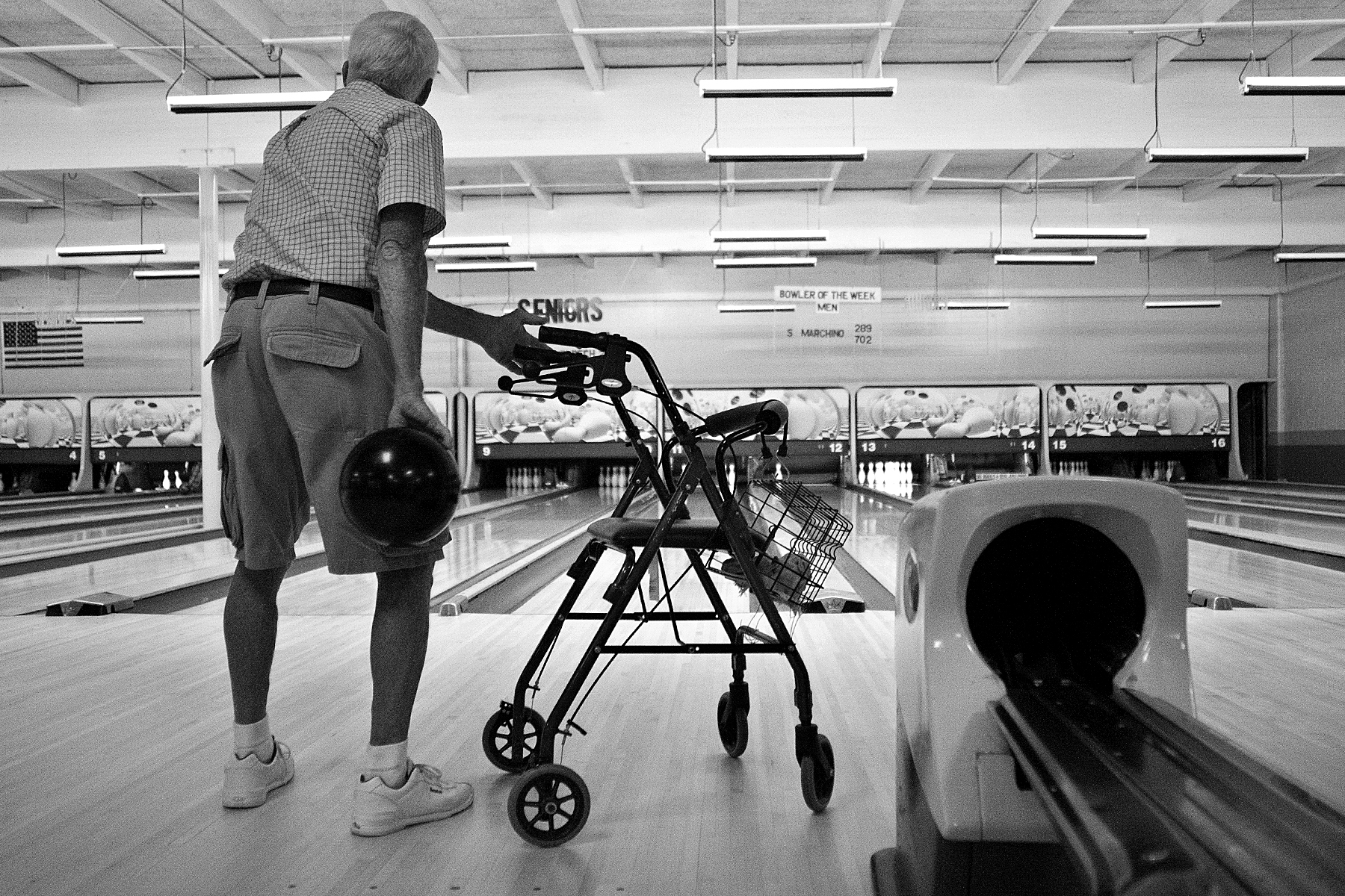 As often as his body would cooperate, Red would join a group of seniors who meet Tuesdays and Fridays for a bowling league at Dubois Lanes in Huntingburg. Red used his walker to position himself and maintain his balance before heaving the 16-pound ball down the lane. Red bowled a 124 the first game, but had the strength to bowl only an 82 the second game.