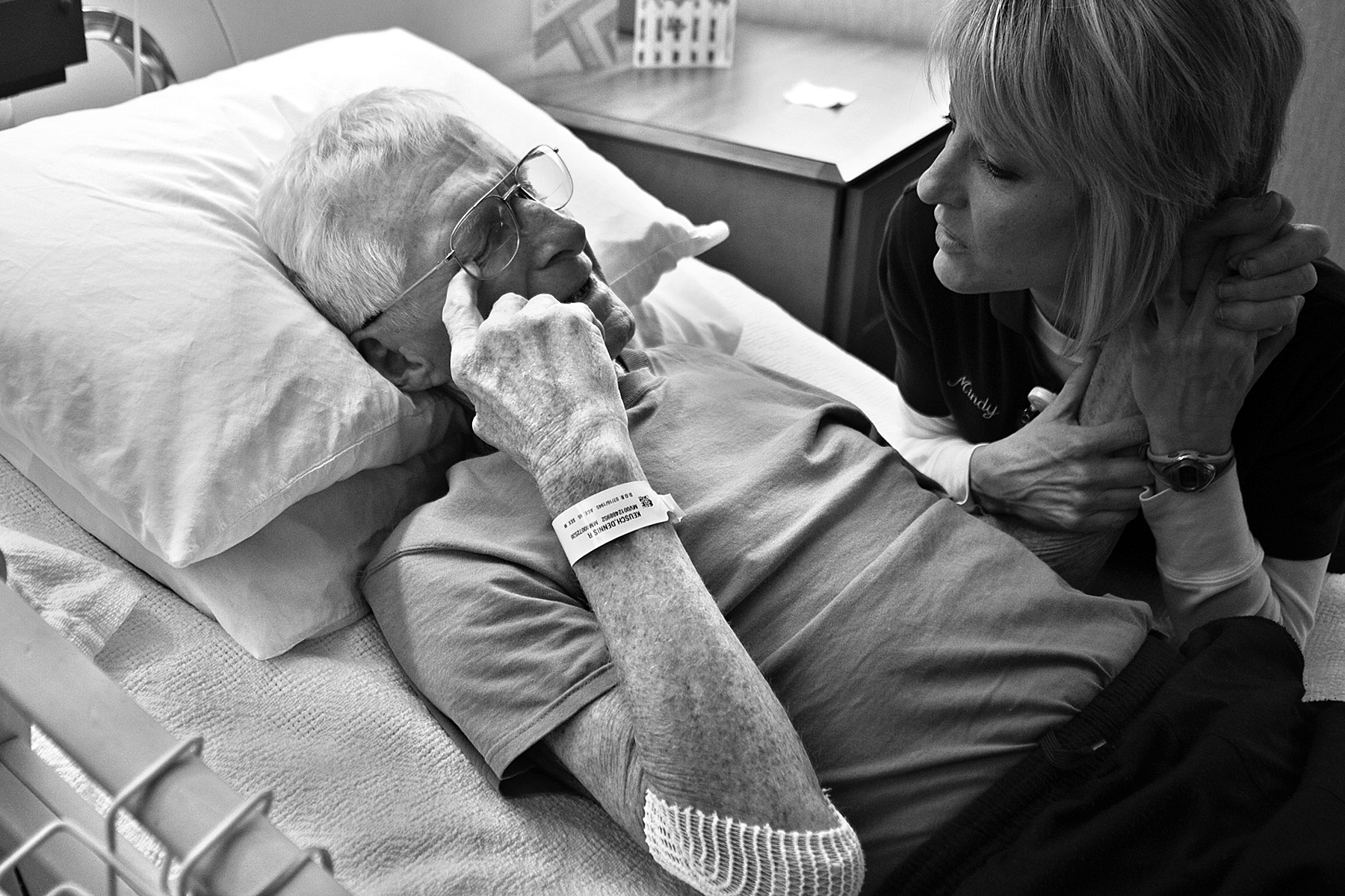 Physical therapy assistant Mindy Bueltel of Jasper tried to comfort Red and tell him there was no need to apologize for his struggles while she worked with him in his room at Memorial Hospital and Health Care Center in Jasper. Red became emotional as his body struggled with the therapy session and the idea of being limited in his movement.