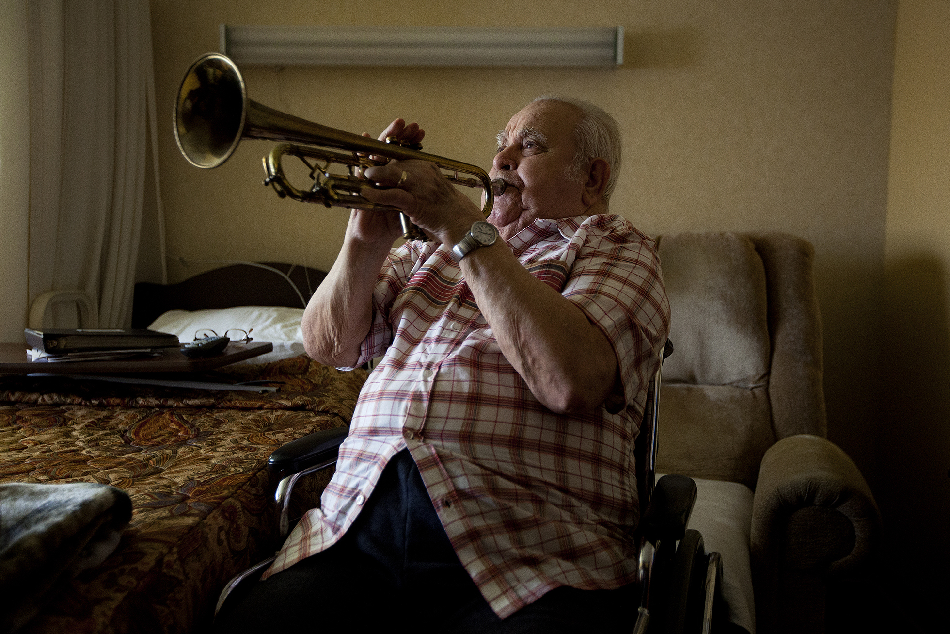 "Ray LaFlamme, 88, says music saved his life. The Jasper resident was drafted into the U.S. Navy after graduating from high school in 1943. After boot camp, all but he and one other person in his company were assigned to the USS Bunker Hill. ""They heard I could play a pretty good trumpet,"" he said. LaFlamme was sent to the U.S. Navy School of Music in Washington, D.C. The aircraft carrier was later attacked, killing many men from LaFlamme's company. LaFlamme still plays his horn as he did in his room at St. Charles Health Campus in Jasper."