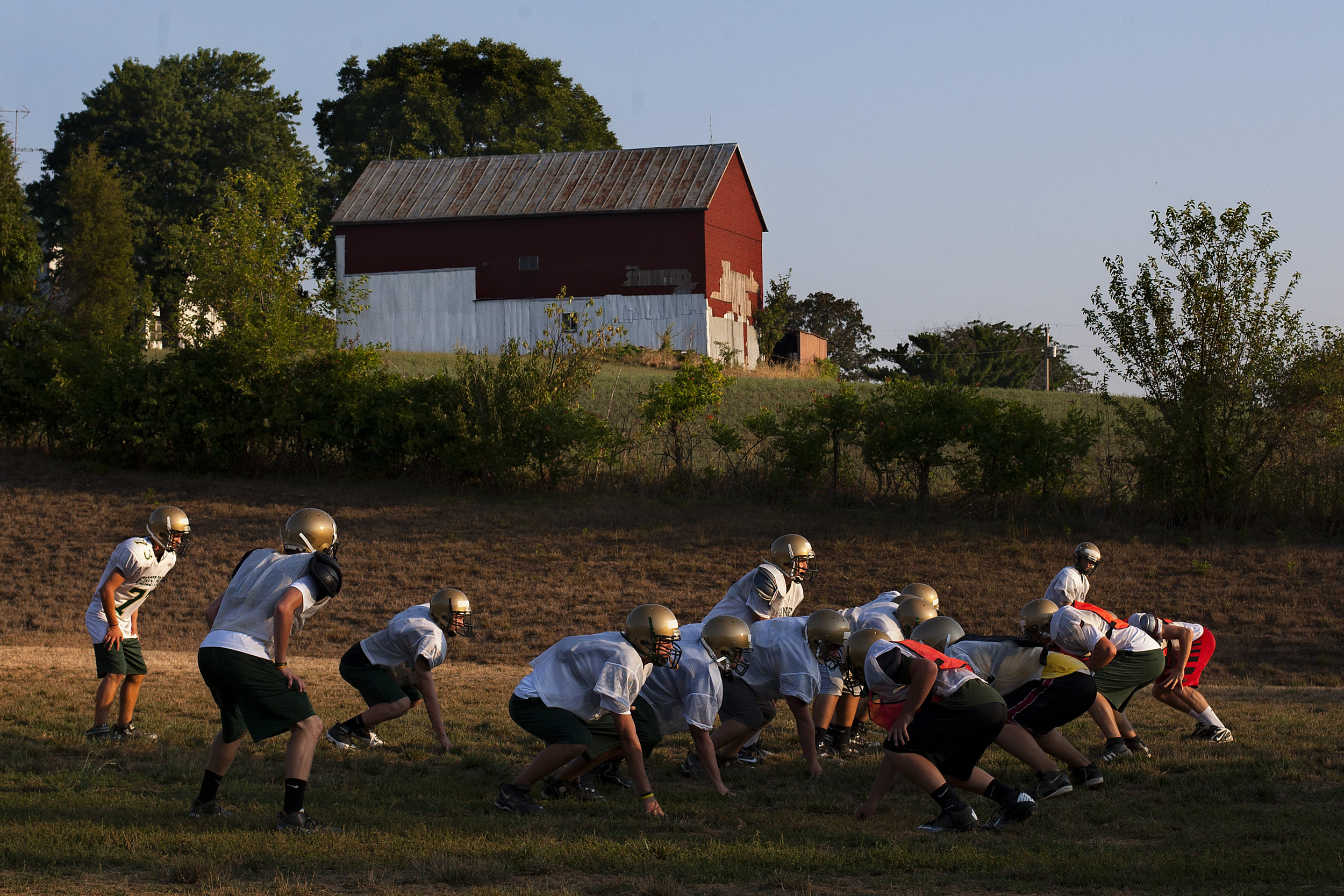 IHSAA rules for two-a-day practices prohibit the teams from running full contact drills on the first two days of practices. The Forest Park team ran through plays the morning of the second day of two-a-day practices.