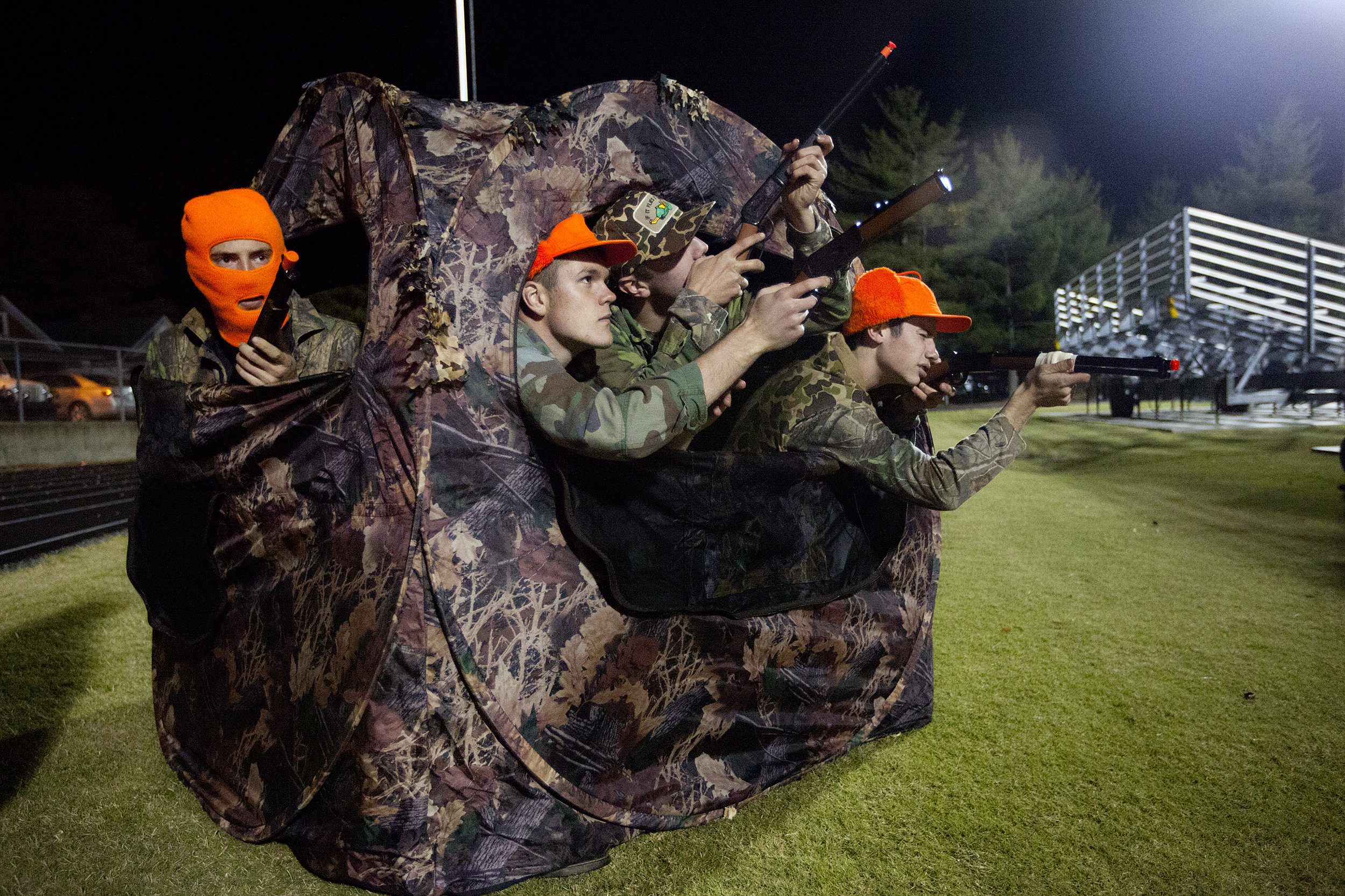 Jasper seniors Kirk Stenftenagel, left, Issac Lechner, Mark Giesler and Nate Messier spent halftime of the Class 4A sectional championship game against Evansville Reitz in a hunting blind at Jerry Brewer Alumni Stadium in Jasper. The Wildcats lost 31-30.