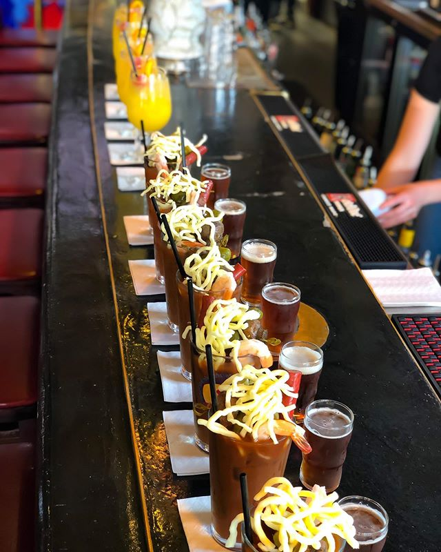 Just another Sunday {funday} in the works. Line 'em up! 😎🤙🙌 #mke #milwaukee #bloody #bloodymary #wi #wisconsin #brunch #mimosa #orange #champagne #tradition #delicious #sunday #sundayfunday