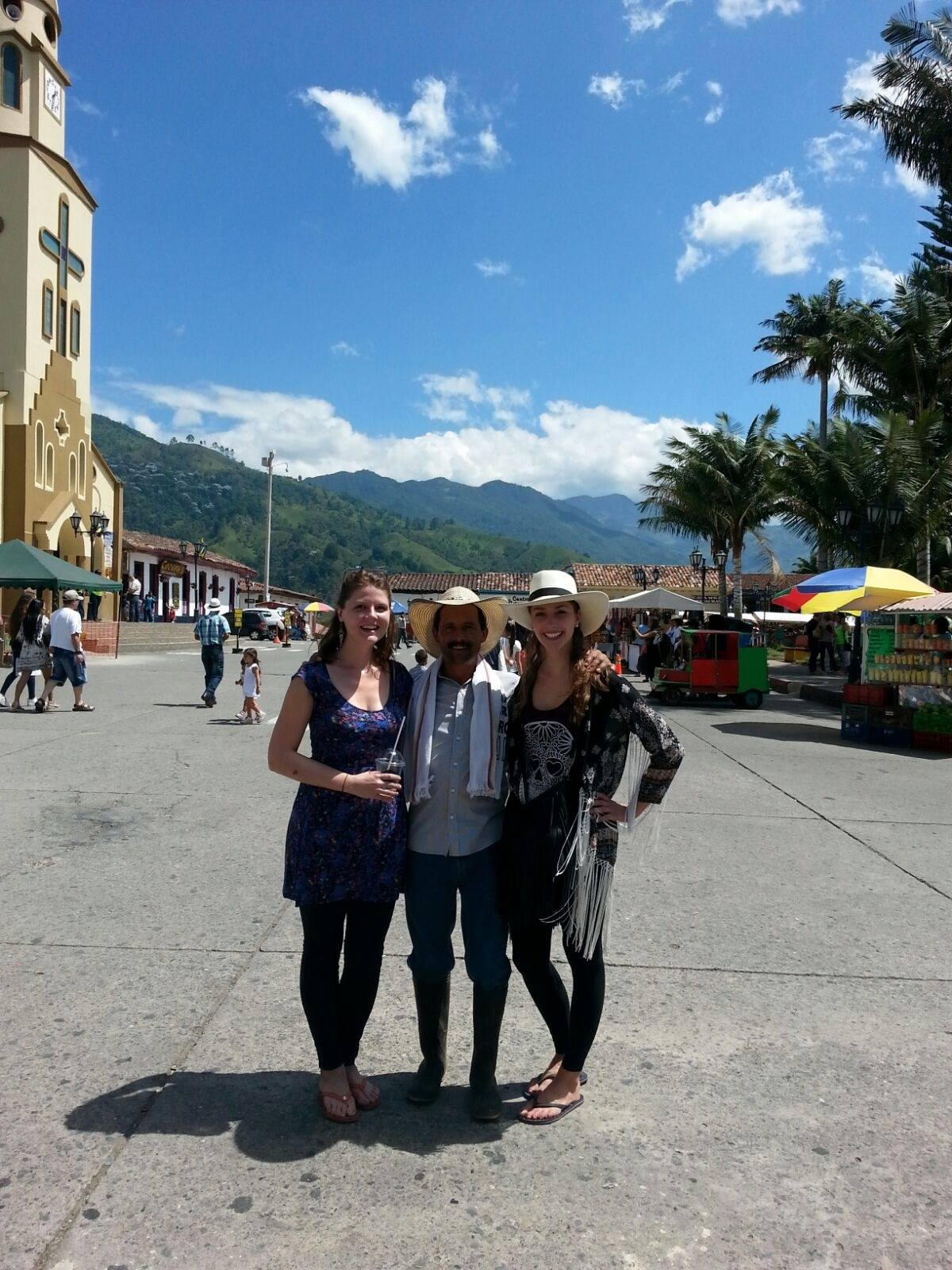 My friend Monika & I in the town square of Salento.