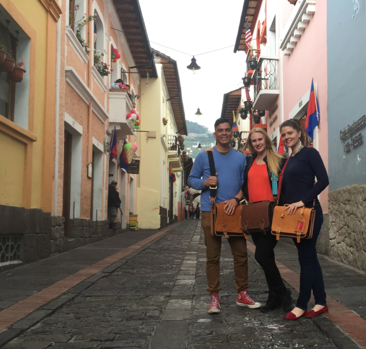 First-generation VerverWerks bags photographed on the streets of Quito.