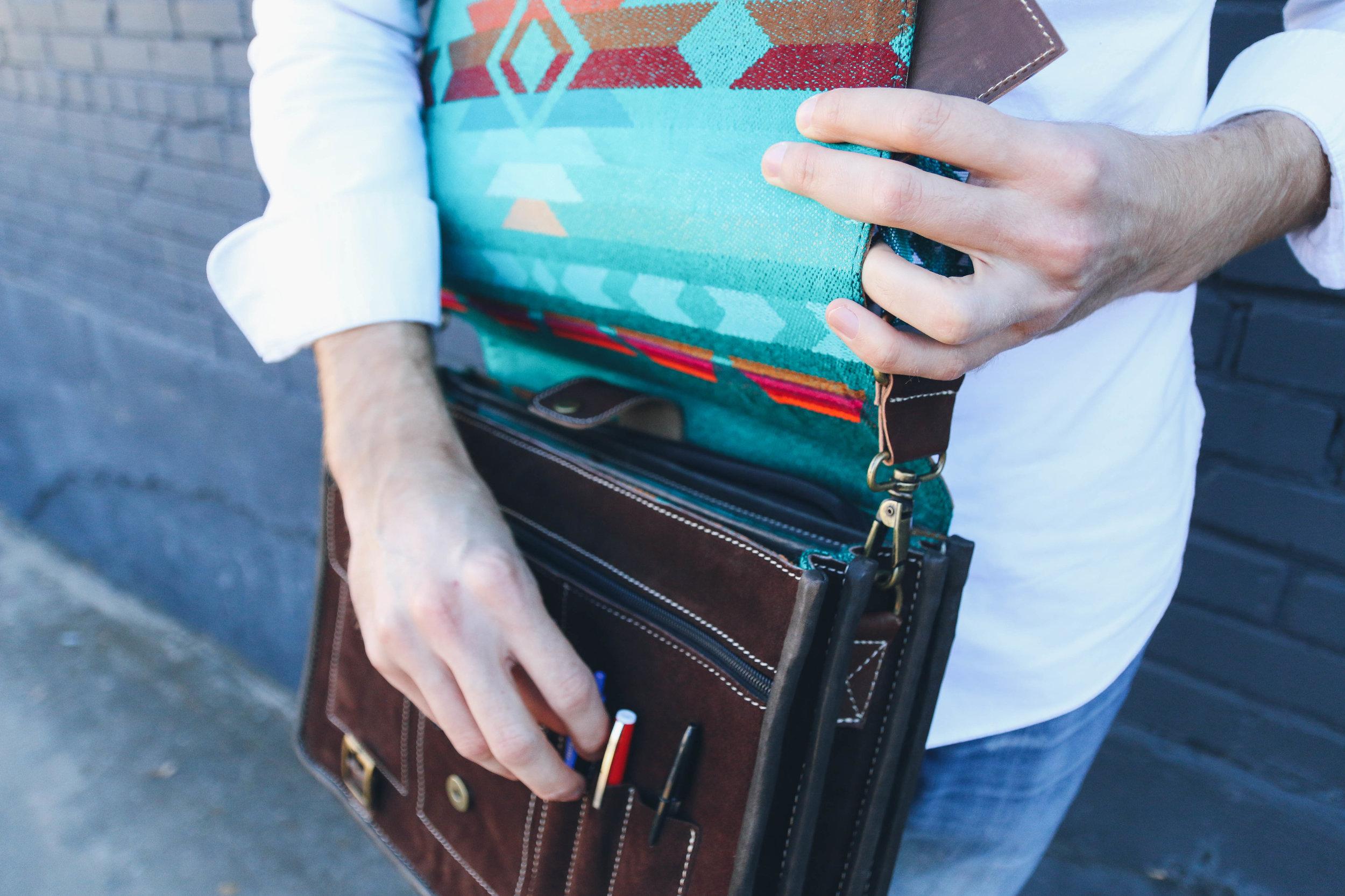 "An authentic Verver bag - the  15"" Jade Messenger+."
