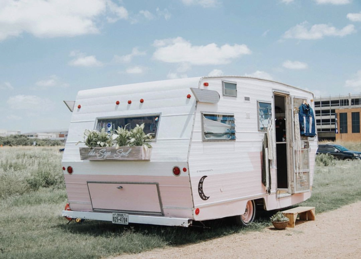 The Sage Soul is a boutique on wheels featuring curated goods from around the globe. Owner Sarah Hodge is proud to have recently opened a second mobile retail shop called Sister Sister (after an extensive airstream renovation) off Barton Springs & Lamar in Austin.  @thesagesoulatx
