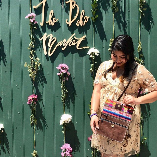 🌸 Hi everybody, Nimisha here! (: Can't tell what's cuter, me or the bag 😜 Come check us out today until 5 @thebohomarket in the @dallasfarmersmarket! #Ververwerks #wieldyoursoul _____________________________________________________________ #thebohomarket #bags #flowers #dallasfarmersmarket #trendy #fashion #statementpiece #accessories #purses #colorful #leather #patterns #texaslifestyle #dallastodo #bohemian #bohostyle #giveback