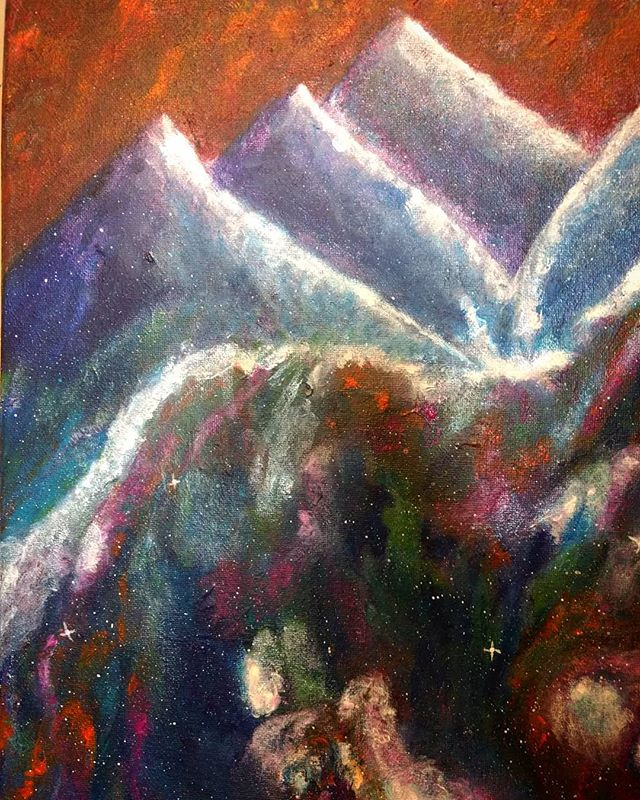 """Arctic Space Mountains in a World of Fire"" $60 14x11 Acrylic on Canvas"