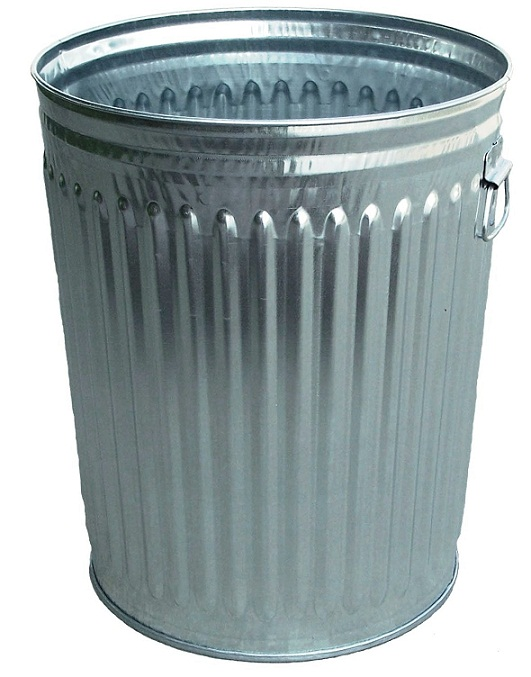 Galvanized steel trash bin