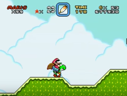 Mario and Yoshi in the classic Super Mario World.