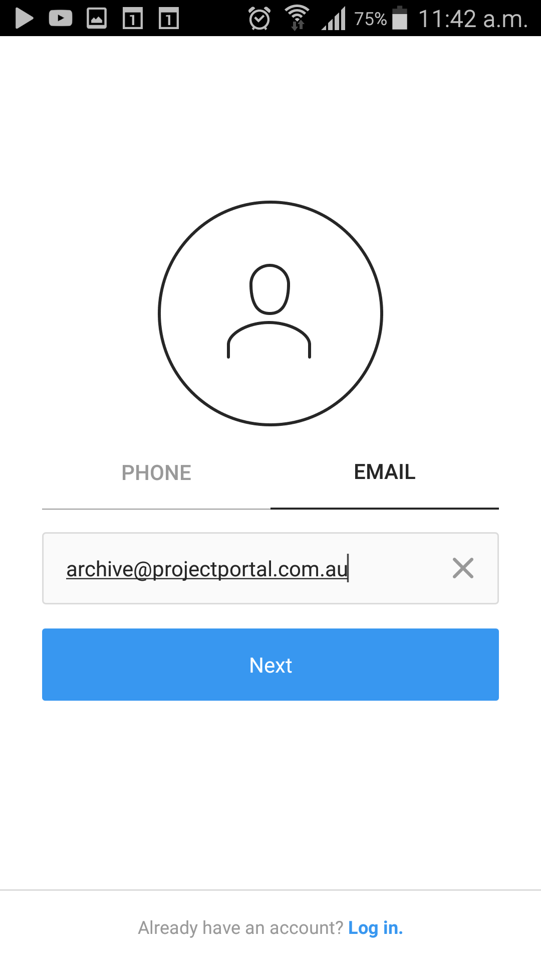 Step 3 - Sign-up with Email - Register a new account using an Email.As a best practice, use a generic email address such as Info@yourmail.com or admin@yourmail.com.In our example, multiple users will be accessing the same Instagram account, so choose a password that is easy for all users to remember.Please Note - Emails are limited to 30 characters - If your email address exceeds this number, you will be unable to create an account using this address.