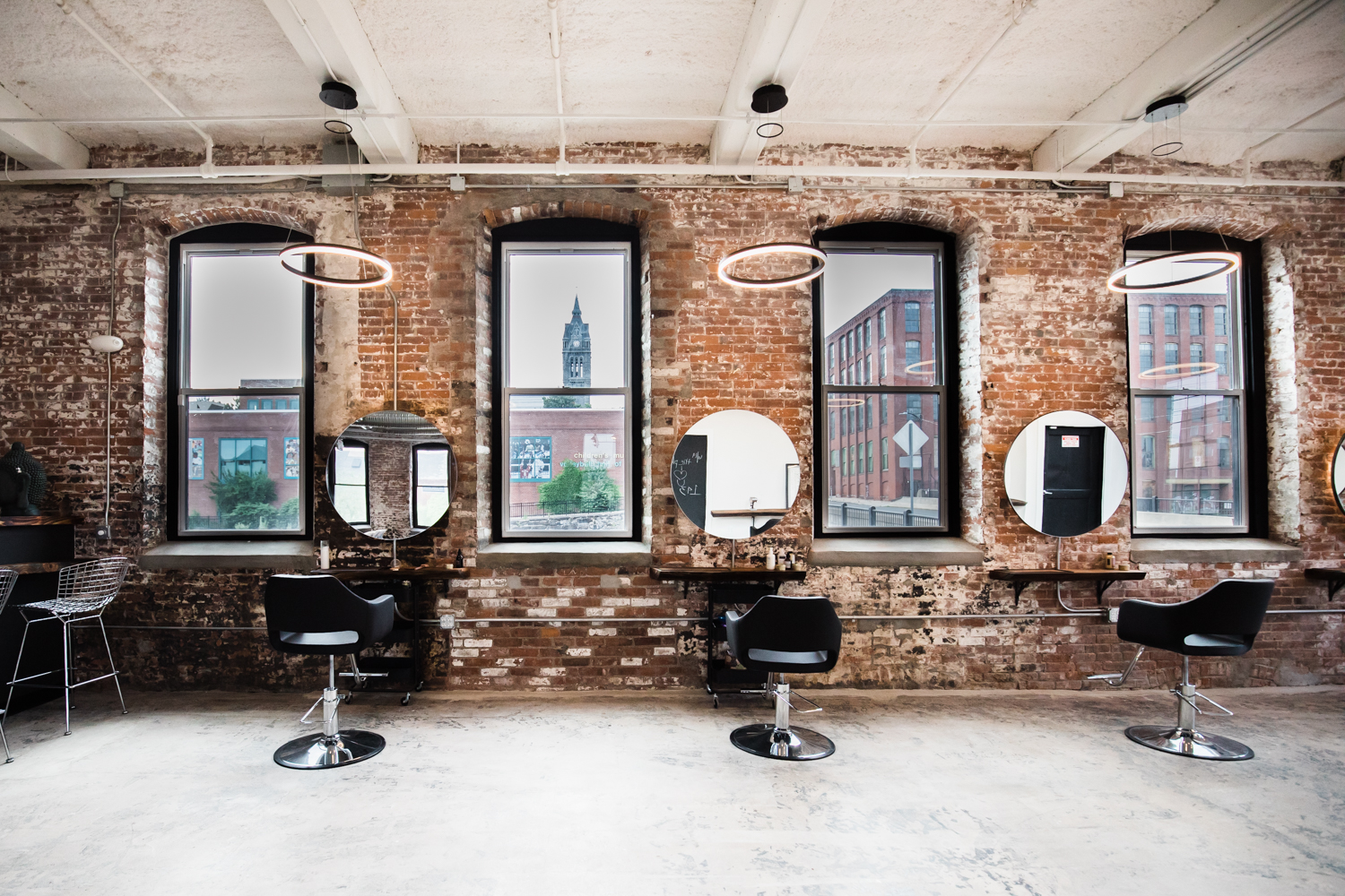 The inside of The Plan, a sustainable salon in downtown Holyoke, Massachusetts.