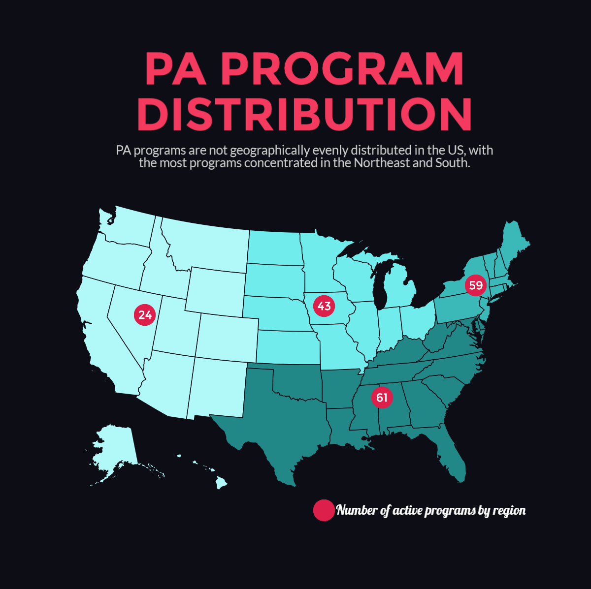 Distribution of programs with survey respondents, which is similar to the geographic distribution of PA programs.