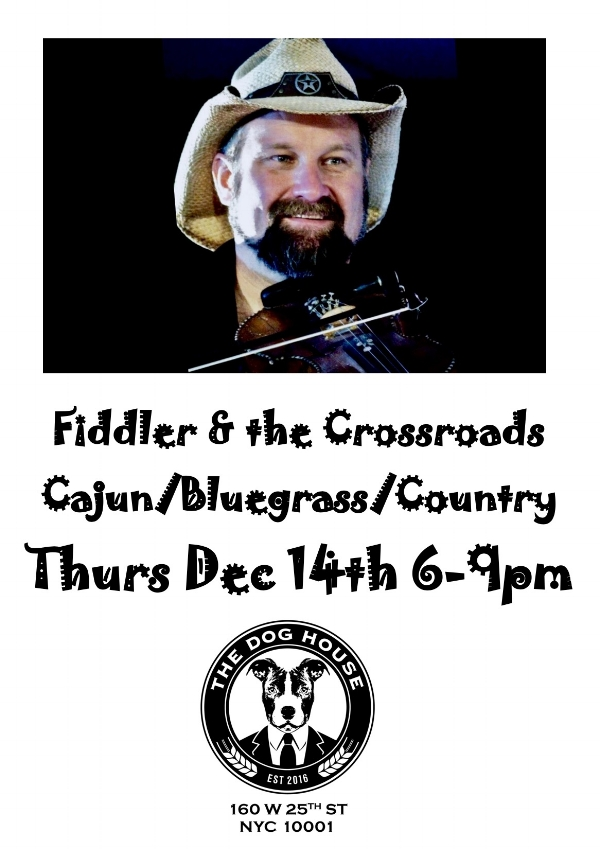 If there were ever musicians that could fill the room with so much 'atmosphere', it is FIDDLER, Greg Holt, and the CROSSROADS! You will want to take them home with you in the first 10 minutes! Come and witness these musical experts on 12/14 @ 6PM this holiday season & bring the family for some good, clean fun! 212-337-8301!