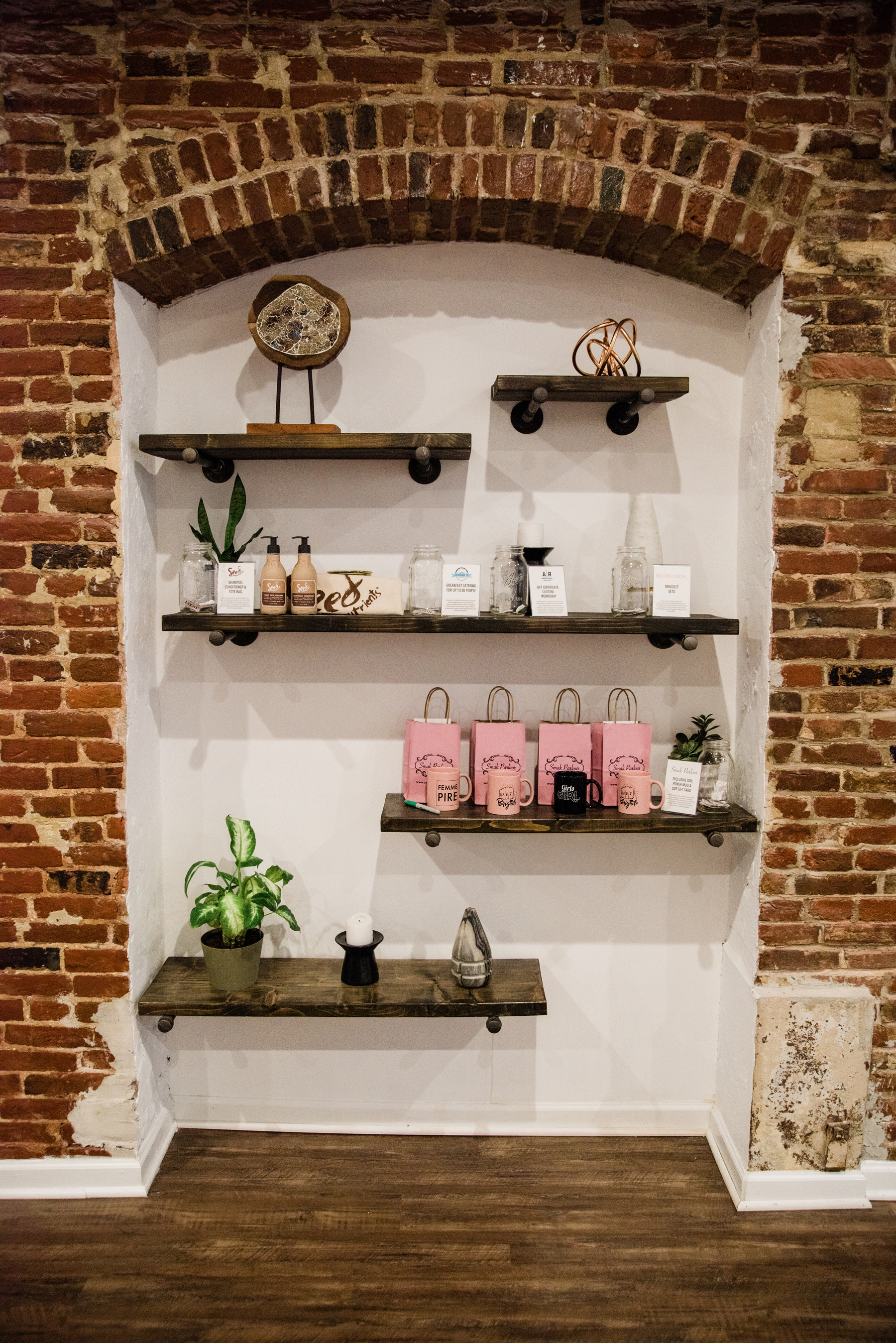 This cute little nook at TORC hosted all of our giveaways. Each attendee was given 5 raffle tickets upon entering the party and they placed their tickets in the jars of their favorite items.||Photo by  Julia Dent Photography