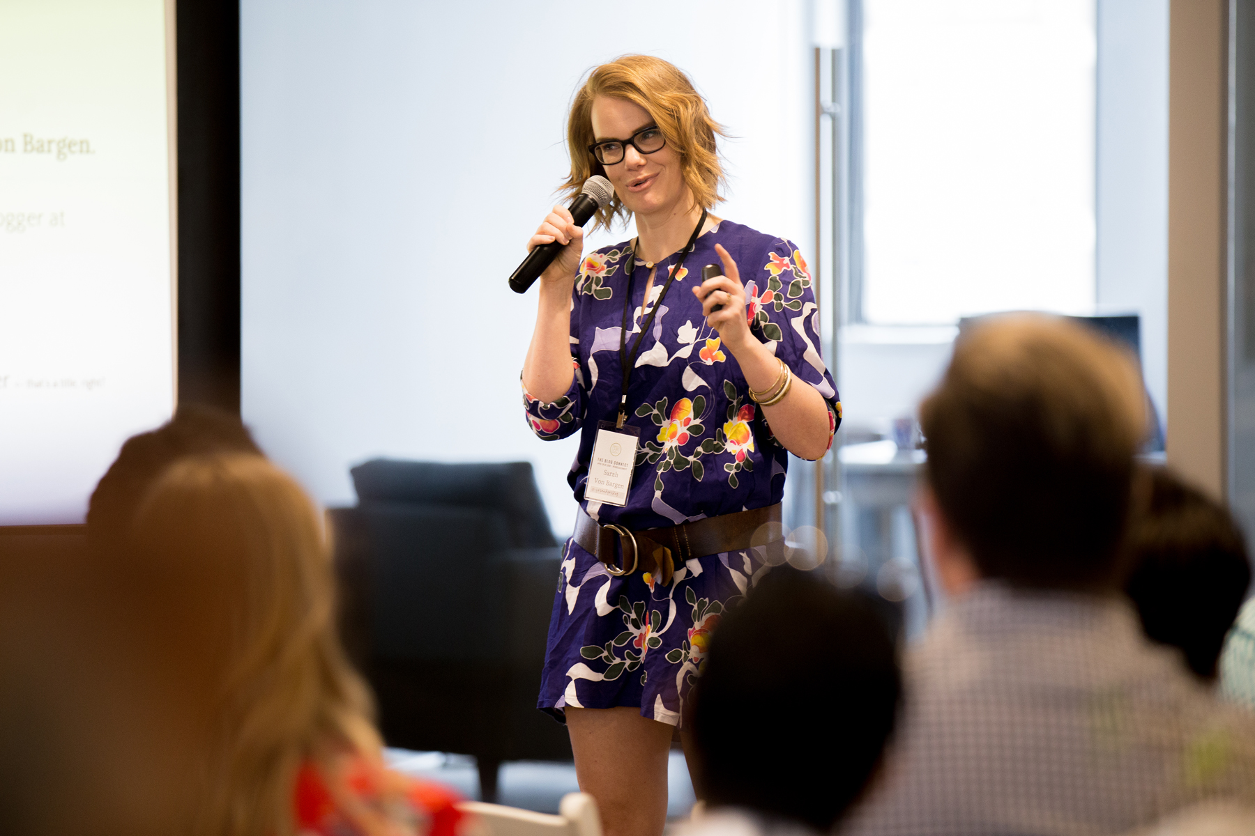 Sarah Von Bargen from Yes and Yes presenting at The Blog Connect 2018. || Photo by  Tim Becker Photography