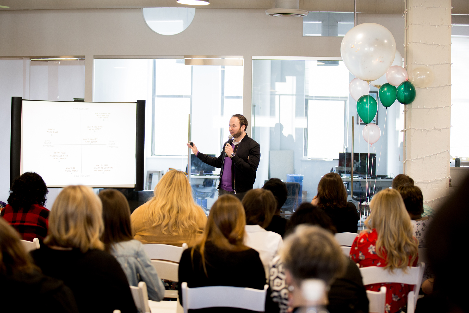 Len Markidan from Podia presenting at The Blog Connect 2018. || Photo by  Tim Becker Photography