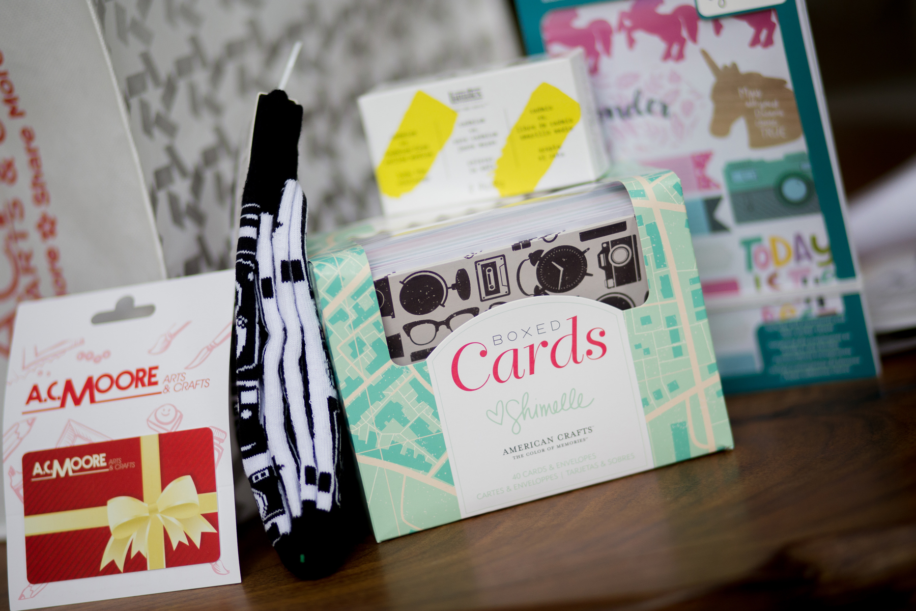 Just a few items from A.C. Moore's swag bag for the 2018 Blog Connect Conference. || Photo by  Tim Becker Photography