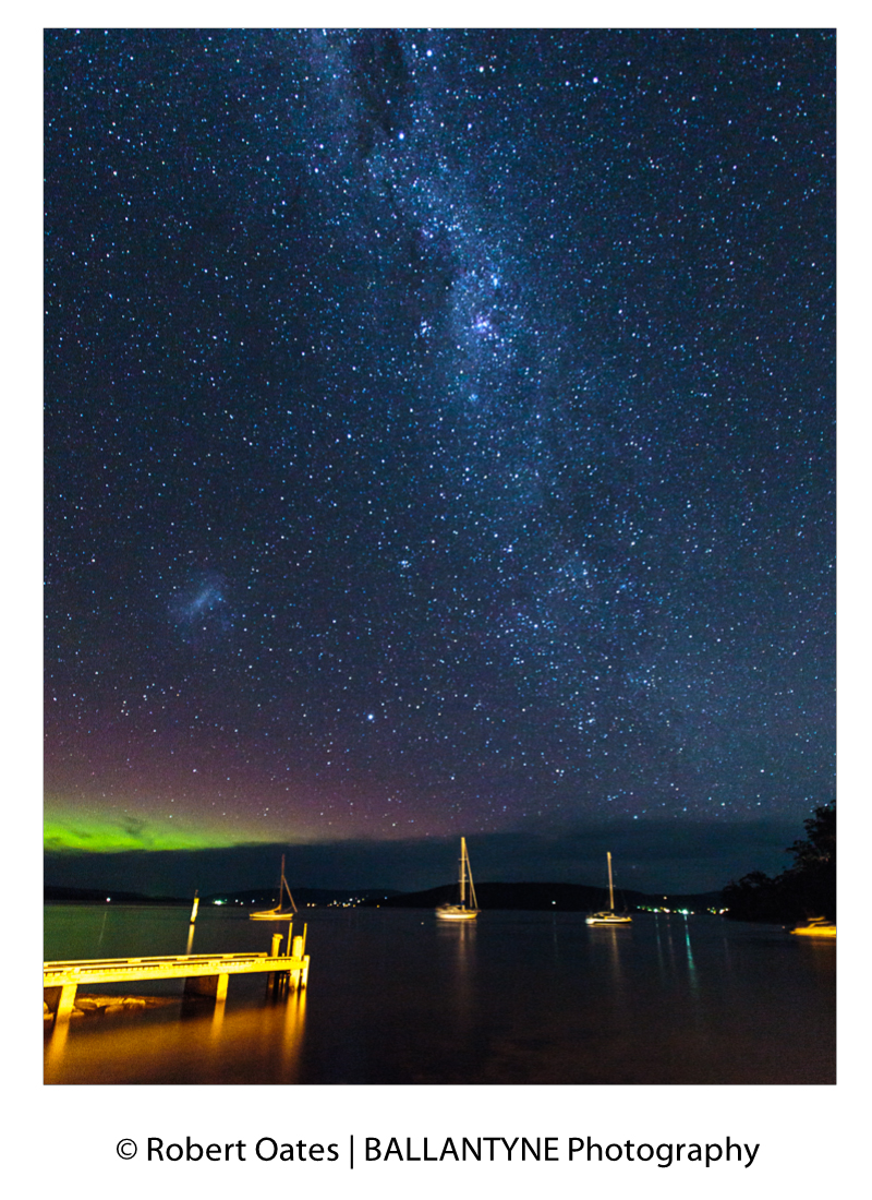 Aurora Australis and the Milky Way over Bruny Island and D'entrcastreaux Channel
