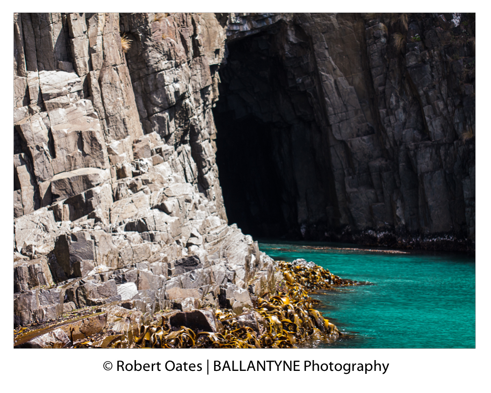 Deep caves ripped open by the unrelenting heavy  seas of the Southern ocean