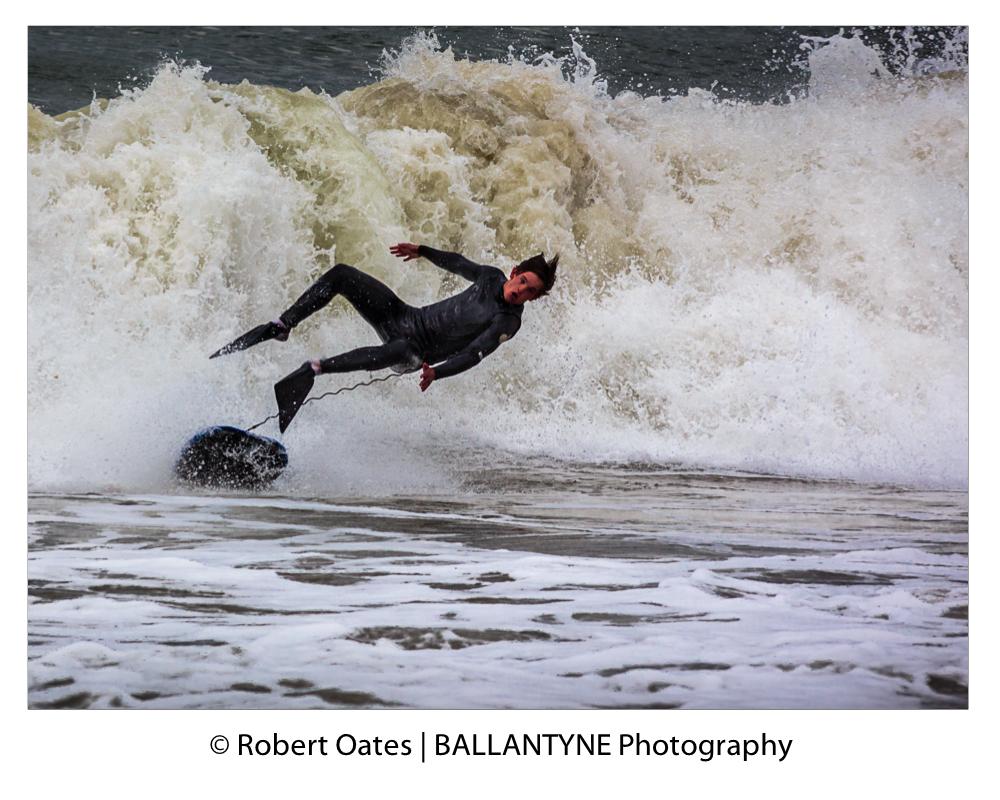 Body boarder bails out ahead of a foaming break