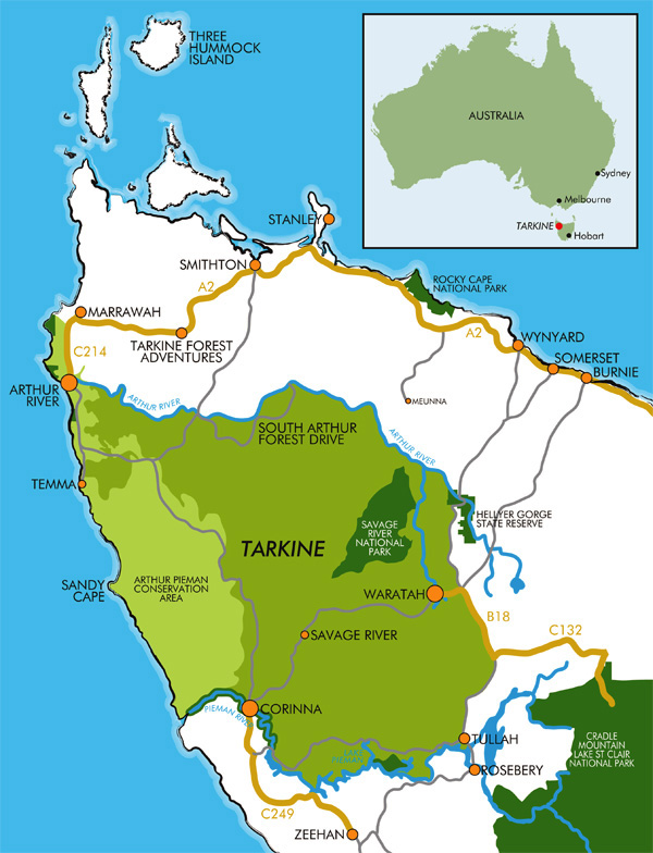 The Tarkine region (map courtesy of DiscovertheTarkine.com)