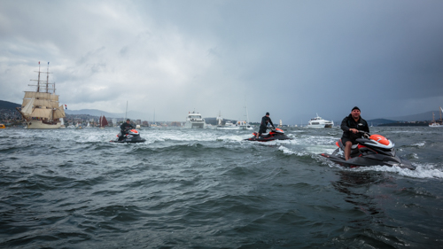 Jetskiers brave a squall to farewell the Tall Ships  Image: © Robert Oates   BALLANTYNE Photography