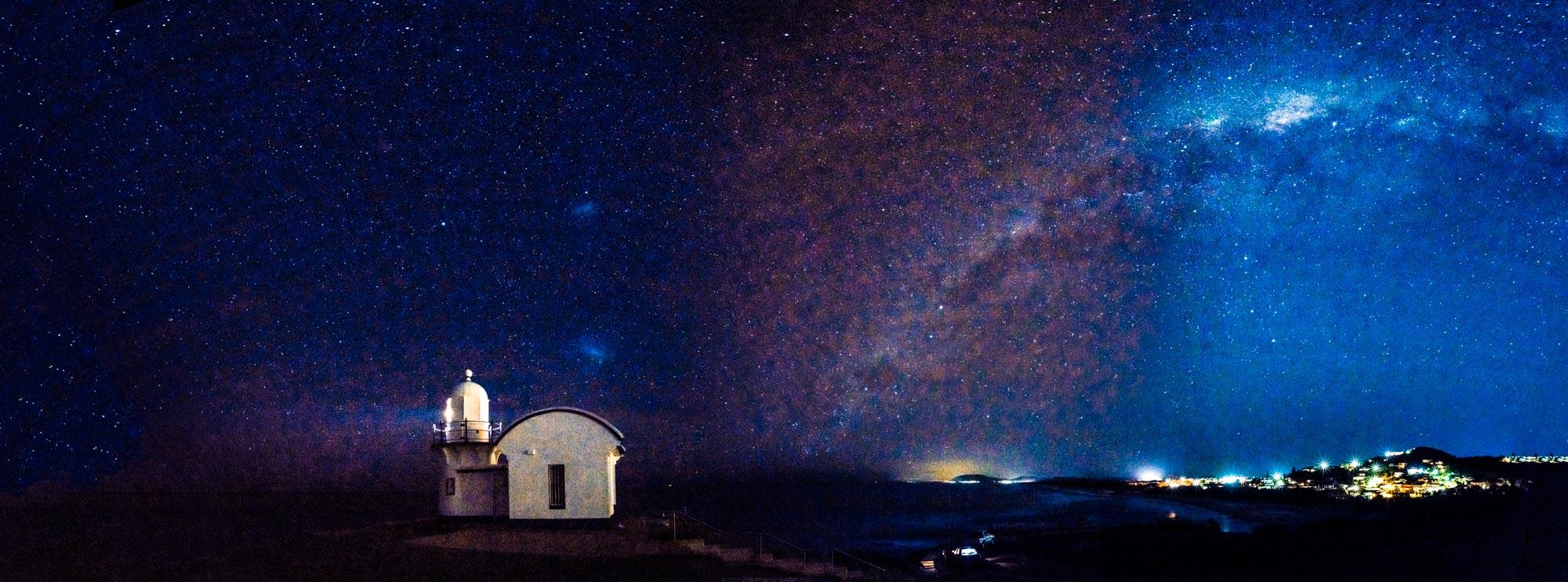 Tacking Point Lighthouse, beneath the Milky Way, NSW, Australia