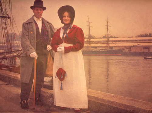 Image:Mary and Charlie Lincoln arrived in Period Costume at the 2013 Wooden Boat festival. Getting Mary and Charlie to adopt the rigid poses of yesteryear, in front of the two old ships as backdrops and a little ageing, instantly dates this image. It took less than a minute, including the walk to the location, to plan, set and capture.    © Robert Oates   BALLANTYNE Photography  ]