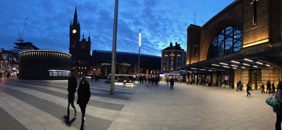 Kings Cross Station against an spring evening sky