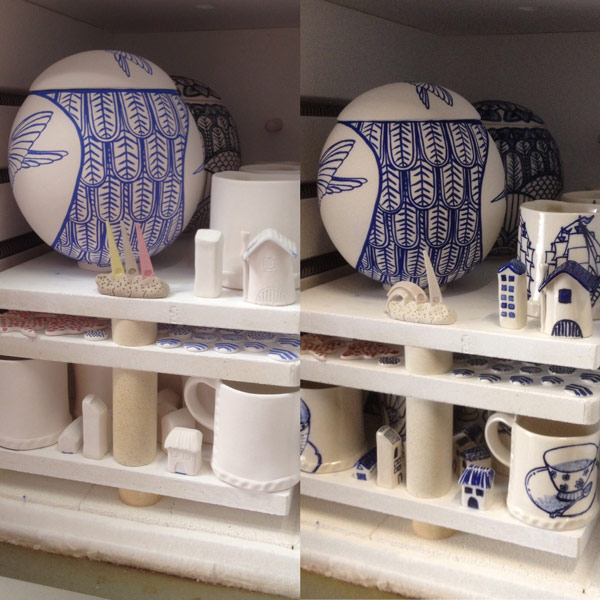 Before and after glaze firing