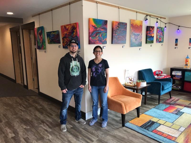 Nick Taylor (owner) and Nikki Starwalker (artist) at Bellinghome School of Music.