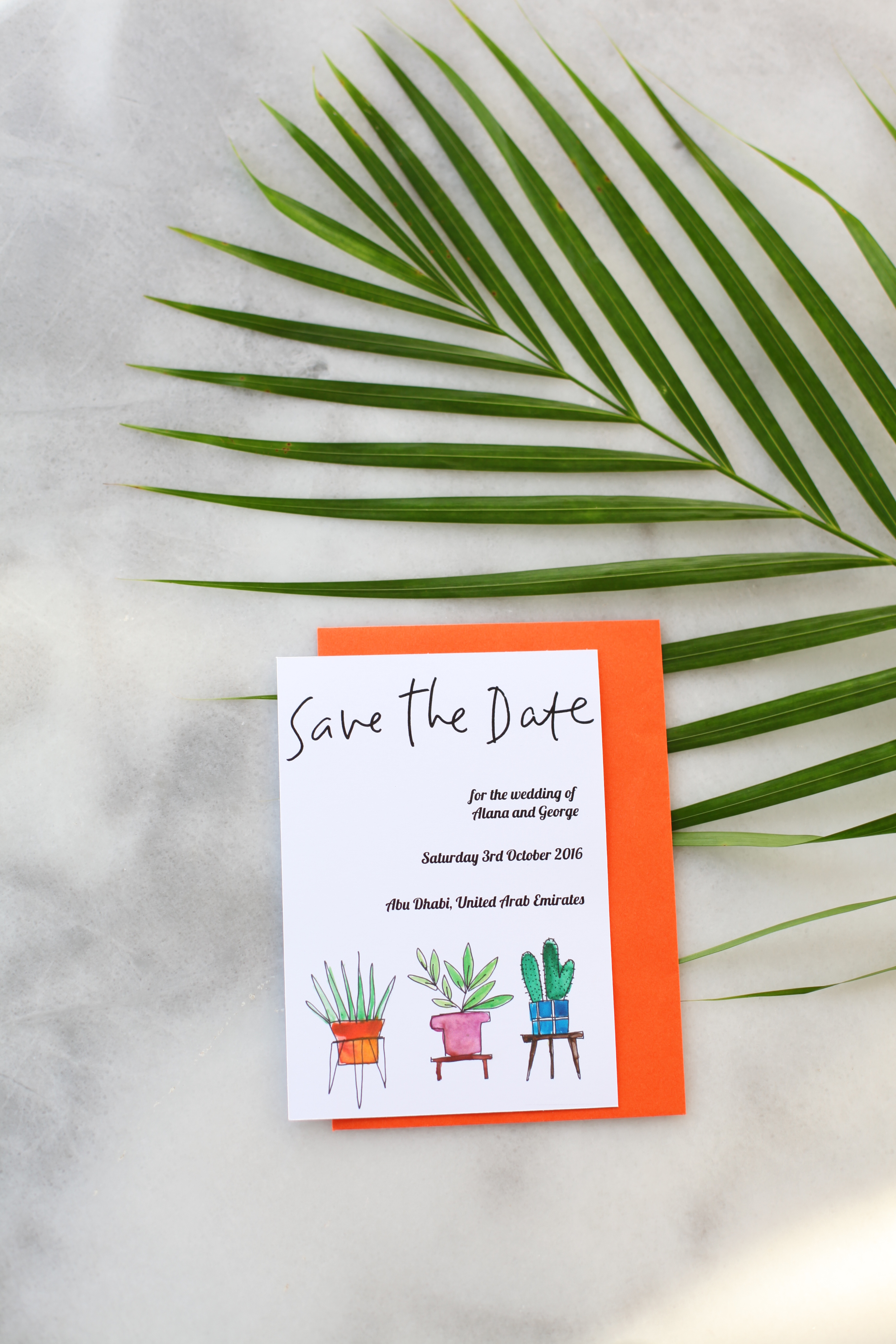 Save The Date - 3 Potted Plants