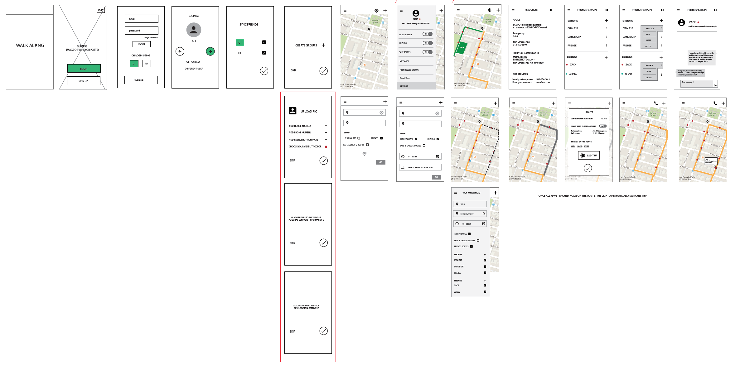 Wireframing - Information architecture in the form of a Sitemap or App Flow is created to guide the detailed aspects of the user experience. Ideating screen design and interactions with pen and paper keeps possibilities innovative and fluid.
