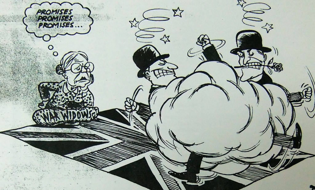 Cartoon depicting one of Hong Kong's War Widows watching in frustration two representatives from the Conservative and Labour parties fighting over the passport issue with utter disregard for the widow and Union Jack they are trampling on. (SCMP May 1996)